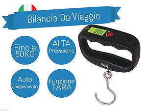 BILANCIA DA VIAGGIO 50KG 10G PESA VALIGIA VALIGIE BAGAGLI DIGITALE PORTATILE LCD