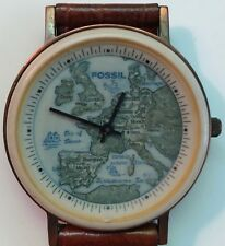 Vintage Genuine Fossil Western Europe Map Watch Men 1990's - Collection Piece