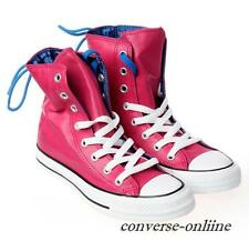 Womens CONVERSE All Star RED PINK SLOUCHY NYLON HI TOP Trainers Boots SIZE UK 8