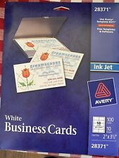 Avery 28371 White Ink Jet Printer Business Cards 100 Count