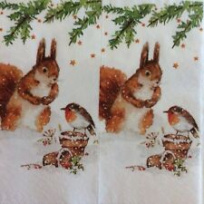 paper napkins decoupage x 2 Christmas squirrel & robin 21cm