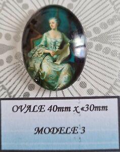 Cabochon verre ovale 40 x 30mm personnage style victorien modèle 3