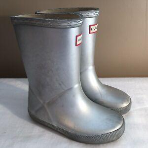 Hunter Original Kids First Classic Rain Boots Silver Toddler Girl Sz 10