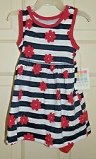 New Girls 6-9 Months 2 Piece Striped Flower Knit Dress Set Diaper Cover Outfit