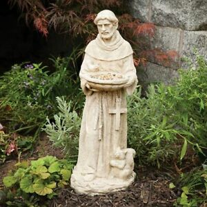 Distressed Look St. Francis Patron Saint Of Animals Bird Feeder Garden Statue
