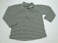 INFANT GIRLS ZARA BABY GRAY STRIPED MOCK TURTLENECK SHIRT SIZE 3-6 MONTHS