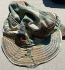 VTG WORN US Army Military Combat Field Cap Hat BDU Woodland Camo 7 Ear Flaps