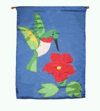 "28x40 Embroidered Sewn Hummingbird Flower Appliqued Nylon Garden Flag 28""x40"""