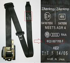 VW Polo Seat Belt Passengers Side Front 9N 2005 to 2006 3 Door 6Q3 857 705 F
