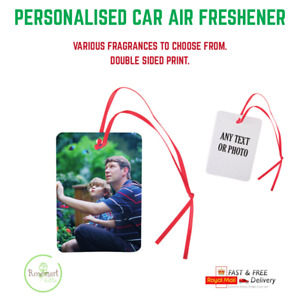 Personalised car air freshener any photo or text with double sided print