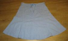 NEXT Pale Blue Linen Mix A Line Front Zip Skirt 14