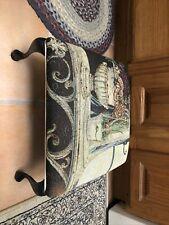New listing Tapestry Print Footstool / Stool 14x14x8 Floral Flower Metal Leg