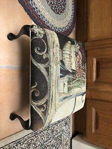 Tapestry Print Footstool / Stool  14x14x8 Floral Flower Metal Leg