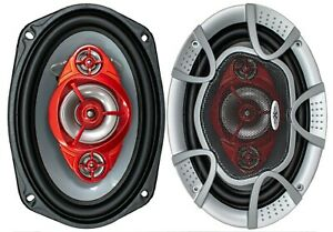 2x SoundXtreme 6x9 520 Watt 4-Way Red Car Audio Stereo Coaxial Speakers- ST694