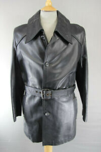 VINTAGE 1970's SUEDE CENTRE SWEARS & WELLS BLACK LEATHER BELTED COAT 40 INCH