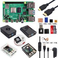 Raspberry Pi 4 Model B 2G/4G/8GB RAM Starter DIY Kit Case + Fan 5V 3A Power + SD