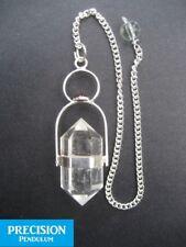 Herkimer Clear Quartz + Garnet Cab Crystal Gemstone w/ Chain Precision Pendulum
