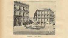 Stampa antica CATANIA Piazza Bellini Sicilia 1891 Old antique print