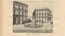 Stampa antica CATANIA Piazza Bellini Sicilia 1891 Old antique print