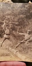 WW2 original Japanese photo of SOLDIER RIFLE and bayonet drill fighting