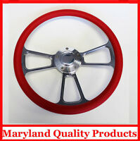 """New Nova Chevelle Steering Wheel Red Grip 14"""" Shallow Dish Billet Polished"""