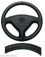 WHEEL COVERS FULL IN LEATHER REAL BLACK STITCHING BLUE FOR OPEL ZAFIRA A