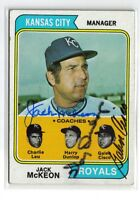 1974 TOPPS #166 ROYALS FIELD LEADERS SIGNED CARD MCKEON, DUNLOP, & CISCO AUTO