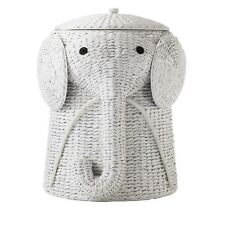 Laundry Hamper Basket with Lid Organizer Bag Elephant in White