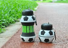 Football Sports Water Bottle W/ Straw Foldable Collapsible Travel Silicone 550ml