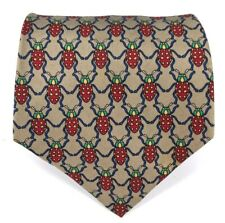 Vintage Harrods 100% Silk Brown Green Red Beetle Insect Necktie Made in England