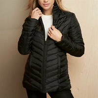 Avon Womens Black Padded Down Coat Ladies Quilted Puffer Jacket Small Size 6 8