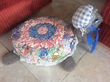 Huge Vintage Quirky Footstool Turtle Patchwork Quilt Needlework Cover Foot Stool