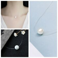 2017 Invisible Transparent Fishing Line Pearl Clavicle Pendant Necklace Jewelry