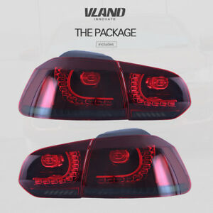 VLAND Full LED Tail Lights For VW GOLF 6 MK6 2010-2014 Red Smoked Rear Lights