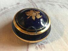 Limoges Cobalt Blue 22K Gold Round Mini Trinket Box Flora France 6/1098