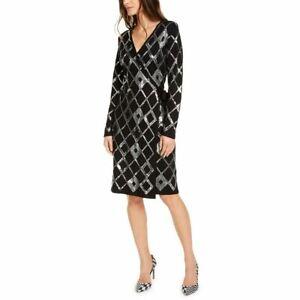 INC NEW Women's Diamond-shape Sequin-front Faux Wrap Sweater Dress TEDO