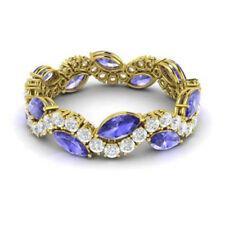 Natural 3.40Ct Tanzanite 14K Yellow Gold Diamond Gemstone Band Eternity Rings