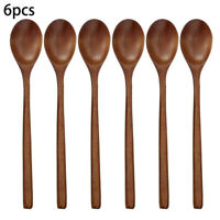 6 Pcs/set Long Handled Wooden Soup Spoons Kitchen Cooking Utensil Rice Spoon