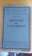 Défense de l'occident - Henri Massis - Plon (1927)