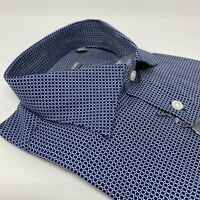 Michael Kors 15.5 34/35 Men Slim-Fit Blue White Button Dress Shirt 15 1/2