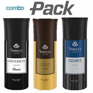 Yardley London Gold + Elegance + Gentleman Body Spray For Men 150ml x 3