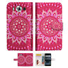 """Hot Pink AZTEC TRIBAL TPU Wallet Case Cover For Nokia 8 5.3"""" -- A004"""