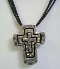"Premier Designs haven Cross Necklace Hammered Matte Silver Tone 16"" #8930"