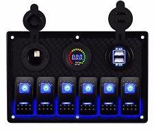 6 Gang Waterproof USB Toggle Automotive Switch Panel LED Car Marine Boat Rocker