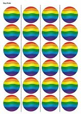 24X PRECUT GAY PRIDE, EDIBLE WAFER PAPER, CUPCAKE, CAKE TOPPERS 1128