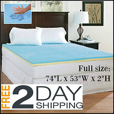 "FULL Size Mattress Topper Memory Foam 2"" Thick Orthopedic Egg Crate Cushion Bed"