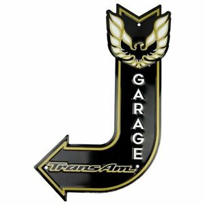 "Trans Am Garage 18"" x 12"" J Bent Arrow Metal Sign Embossed Pontiac Firebird Deco"
