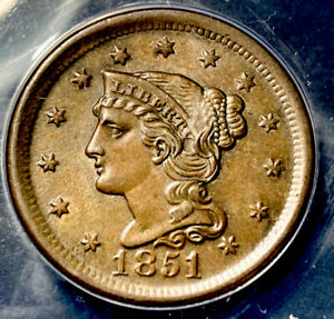 1851/81 Braided Hair Large Cent 1c N-3 LDS High Grade ANACS AU-58 With Luster
