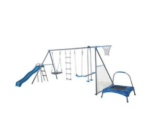 8 Station Swing Set Slide Climb Kids Outdoor Play Fun Safe Toy With Trampoline