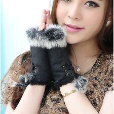Lady Hand Solid Wrist Winter Warm Fashion Fingerless Rabbit Fur Gloves Women Pop